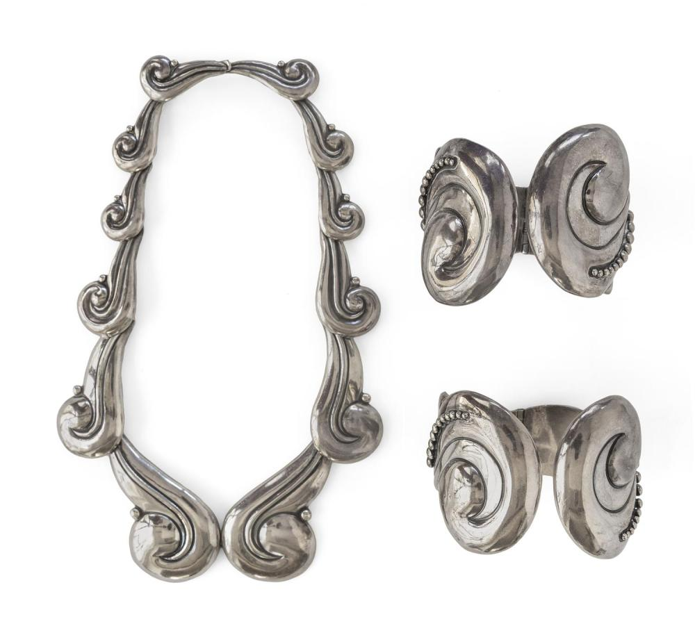 LOS CASTILLO STERLING SILVER DEMI PARURE Includes a necklace and a pair of hinged cuff bracelets, all formed as scrolls with beaded...
