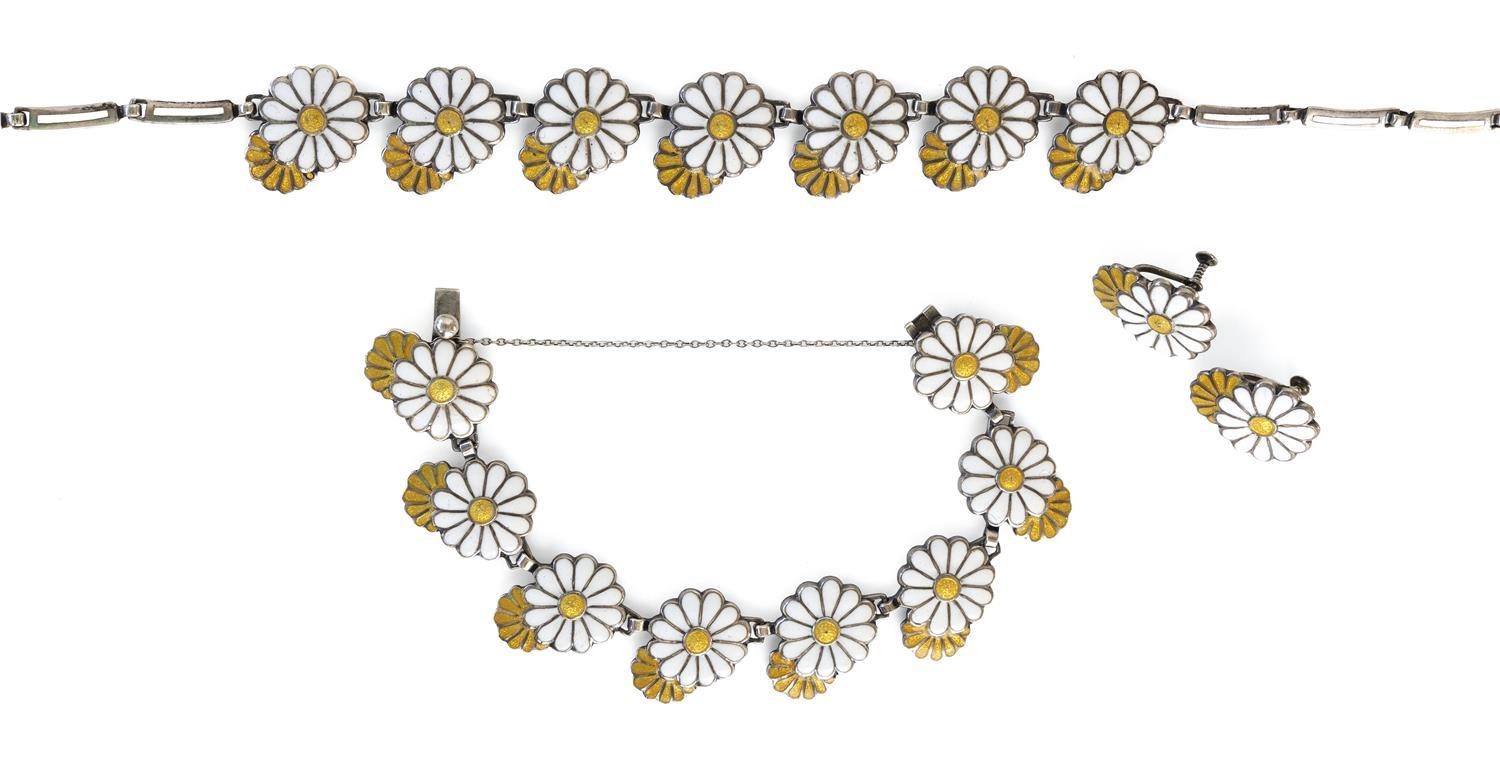 "THREE-PIECE MARGOT DE TAXCO STERLING SILVER AND ENAMEL DAISY PARURE White and yellow enamel. Includes a necklace, length 16.5"", a br..."