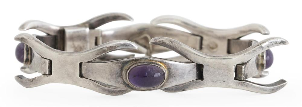 "ERIKA HULT DE CORRAL MODERNIST STERLING SILVER AND AMETHYST BRACELET Links alternate between X-forms and oval cabochons. Signed ""Ric..."