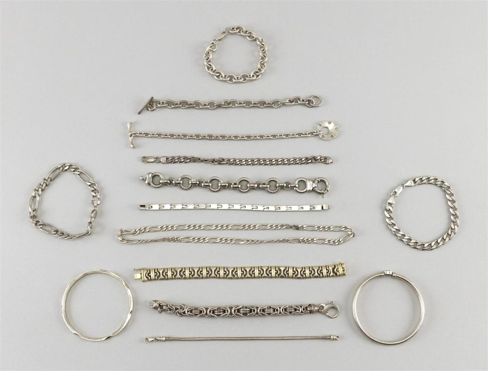 FOURTEEN PIECES OF ASSORTED STERLING SILVER JEWELRY Mostly bracelets, many in a chain-link design. Some marked.Approx. 11.75 troy oz.
