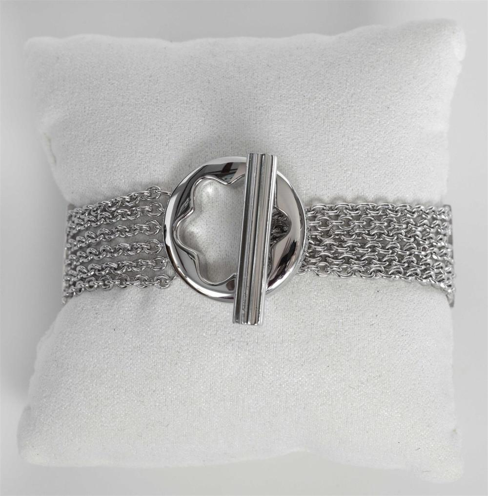 """MONTBLANC """"CARESSE OF A STAR"""" STERLING SILVER BRACELET Six strands, with logo star toggle clasp. Includes original box and documenta..."""
