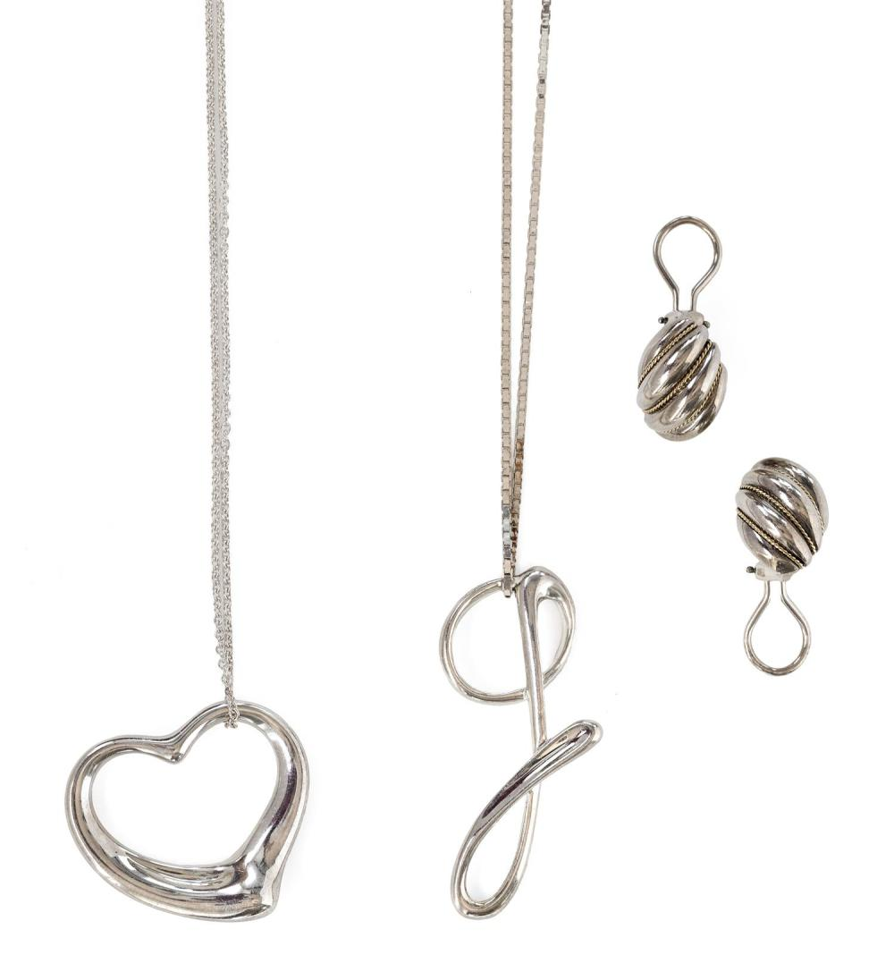 "THREE PIECES OF TIFFANY & CO. STERLING SILVER JEWELRY 1) Elsa Peretti large ""Open Heart"" pendant on 30"" chain. Made in Spain. Pendan..."