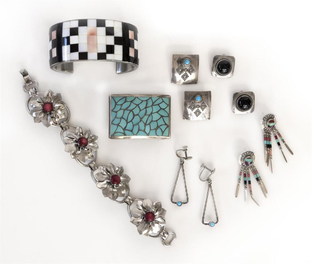 SEVEN PIECES OF JEWELRY Unmarked unless otherwise noted. 1) Pair of Artie Yellowhorse sterling silver and onyx clip-back earrings. 2...