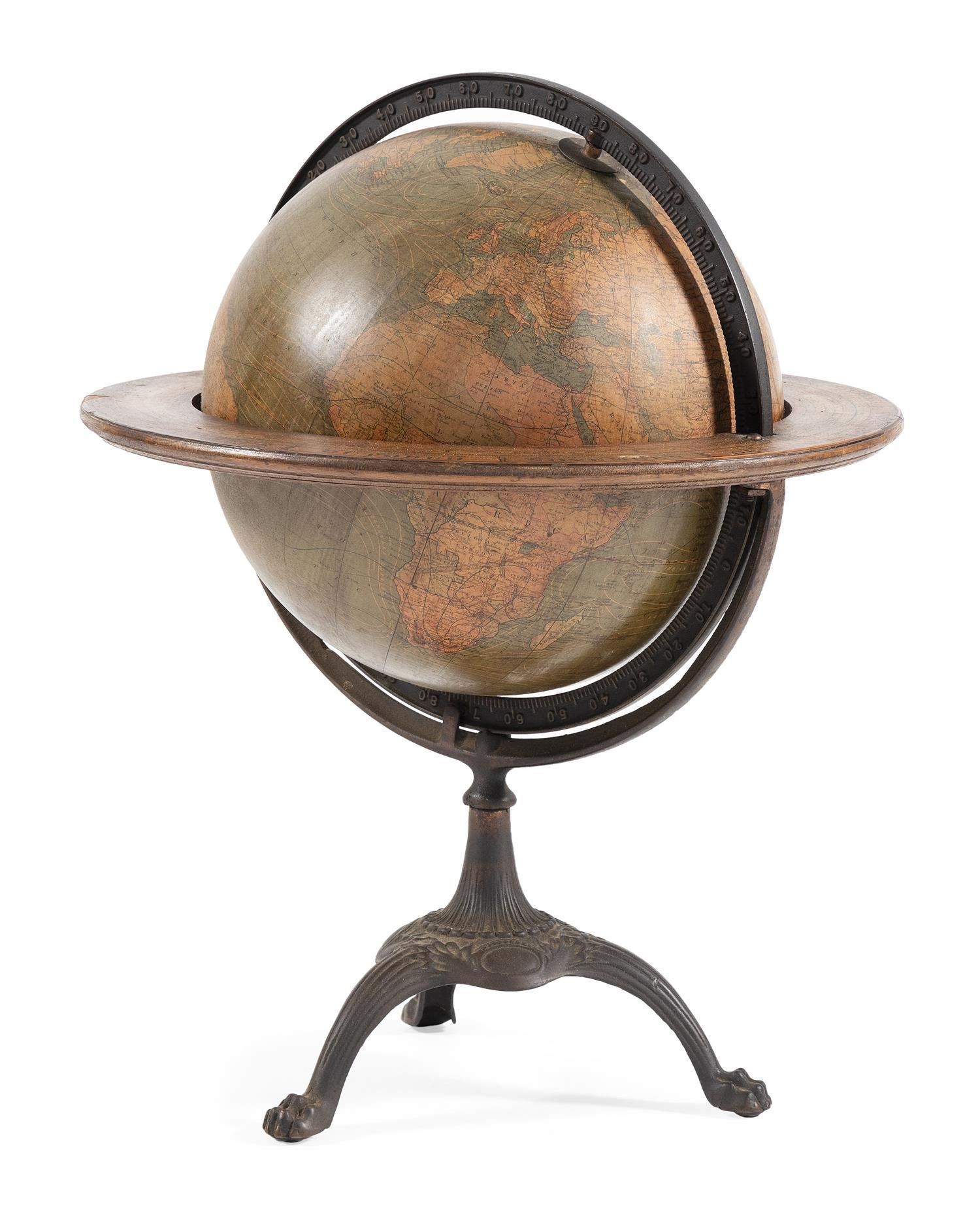 """TERRESTRIAL GLOBE Marked """"Weber Costello Co. Manufacturers Chicago Heights, Ill."""" Cast iron stand. Height 23.5"""". Length 17""""."""
