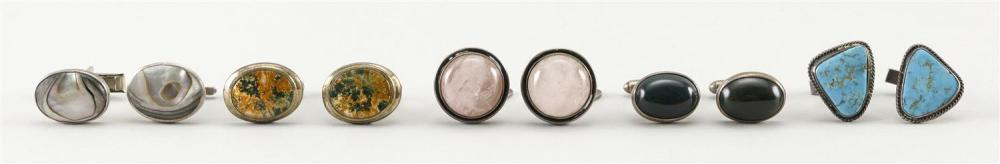 FIVE PAIRS OF SILVER CUFF LINKS Sterling silver unless otherwise noted. 1) Ortak Silvercraft (Malcolm Gray) with bloodstone. Edinbur...