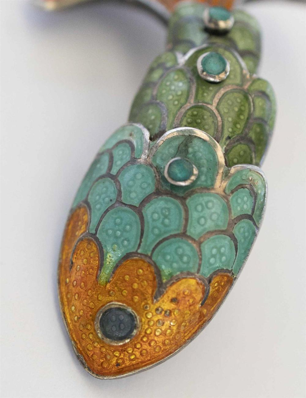 THREE-PIECE MARGOT DE TAXCO STERLING SILVER AND ENAMEL FISH DEMI PARURE Green, turquoise and orange enamel. Includes a pair of artic...