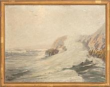 WILLIAM JOHNSON BIXBEE, American, 1850-1921, North Shore seascape., Oil on canvas, 26
