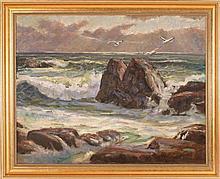 ARTHUR SAFFORD, American, 1900-1992, Sunset over a rocky roast., Oil on canvas, 28