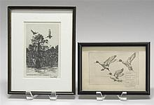 TWO FRAMED ETCHINGS By Richard Bishop.