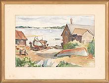 MARY ROBBINS, American, 1919-2008, North Shore harbor scene., Watercolor on paper, 14