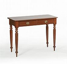 SHERATON/EMPIRE TWO-DRAWER SERVER In mahogany with two brass pulls. Turned and tapered legs. Height 39.5