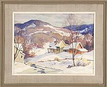 AMERICAN SCHOOL, 20th Century, Winter landscape., Watercolor on paper, 12