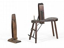 TWO WOODEN COBBLER'S VISES Both in oak. One a bench/vise combination. Heights 40