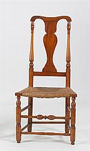 ANTIQUE AMERICAN QUEEN ANNE SIDE CHAIR In oak and maple with vasiform splat back and bulbous front stretcher. Rush seat.