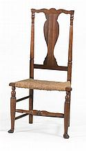 ANTIQUE AMERICAN QUEEN ANNE SIDE CHAIR In maple and oak. Vasiform splat back. Rush seat. Bulbous turned front stretcher. Front two l...