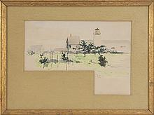 ROSS STERLING TURNER, American, 1847-1915, Landscape with lighthouse., Watercolor on paper, 7