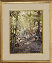 RALPH TAYLOR, American, 1896/97-1978, Sunlit forest path., Watercolor on paper, 15