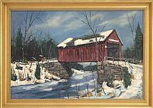 CHARLES STEPULE, American, 1911-2006, Winter scene with a red covered bridge., Oil on canvas, 24
