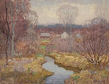 HARRY SPIERS, American, 1869-1947, A river landscape in lavender tones., Watercolor on paper, 20