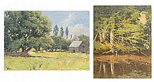 WILLIAM JOHNSON BIXBEE, American, 1850-1921, Two oils on board: Two works:, Both unframed.