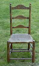 ANTIQUE AMERICAN LADDER-BACK SIDE CHAIR With fruit and flower stenciled decoration on a salmon-colored ground. Turned, carved round...