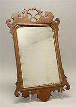 ANTIQUE AMERICAN CHIPPENDALE MIRROR With central round crest and central gilded geometric design. 26.5