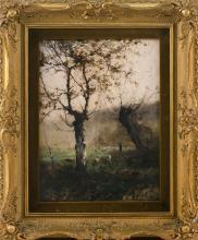 "AARON ALLAN EDSON, Canada, 1846-1888, Shepherd tending his flock., Oil on board, 15.25"" x 11.75"". Framed 19.5"" x 16""."