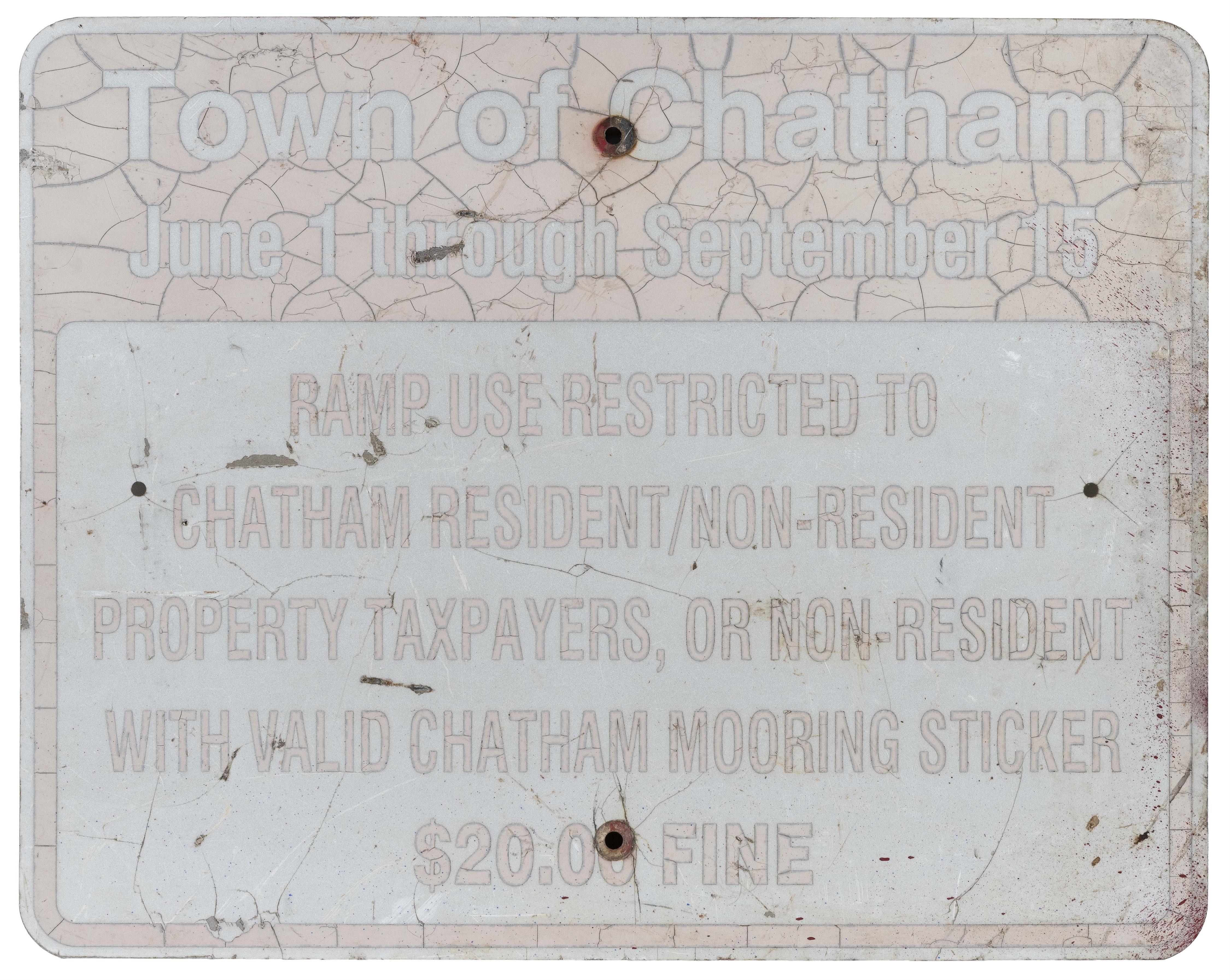 "CHATHAM, MASSACHUSETTS BOAT RAMP SIGN Mid-20th Century 24"" x 30""."