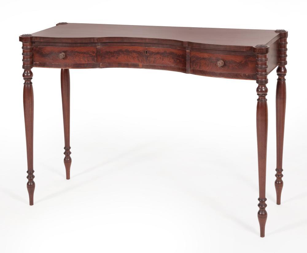 "SHERATON CONSOLE TABLE New York, Circa 1810 Height 31.75"". Width 46"". Depth 16.5""."