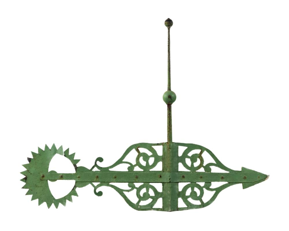 "CAST IRON BANNERETTE WEATHER VANE Early 20th Century Height 29.5"". Length 39.5""."