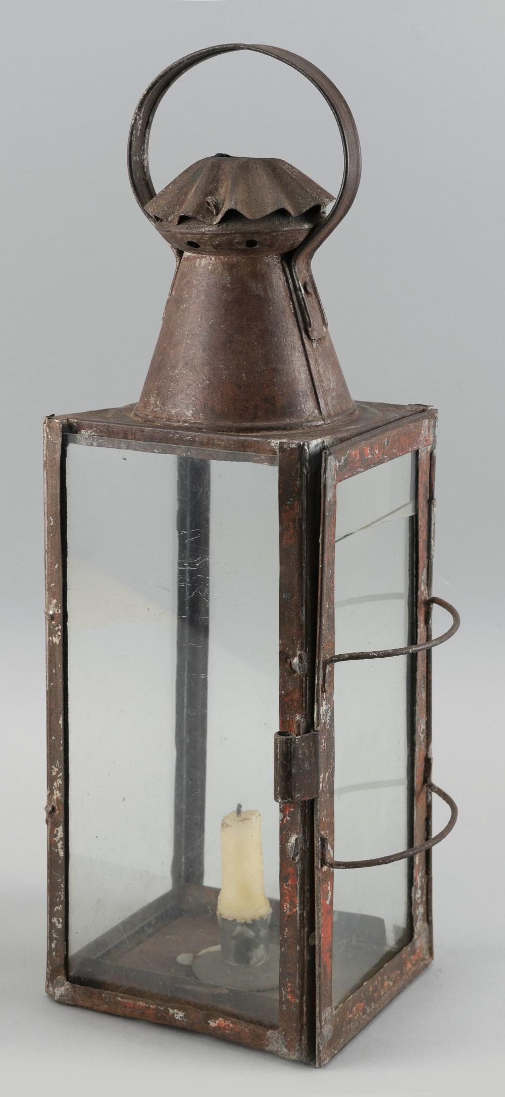"TIN BARN LANTERN First Half of the 19th Century Height 19.5""."