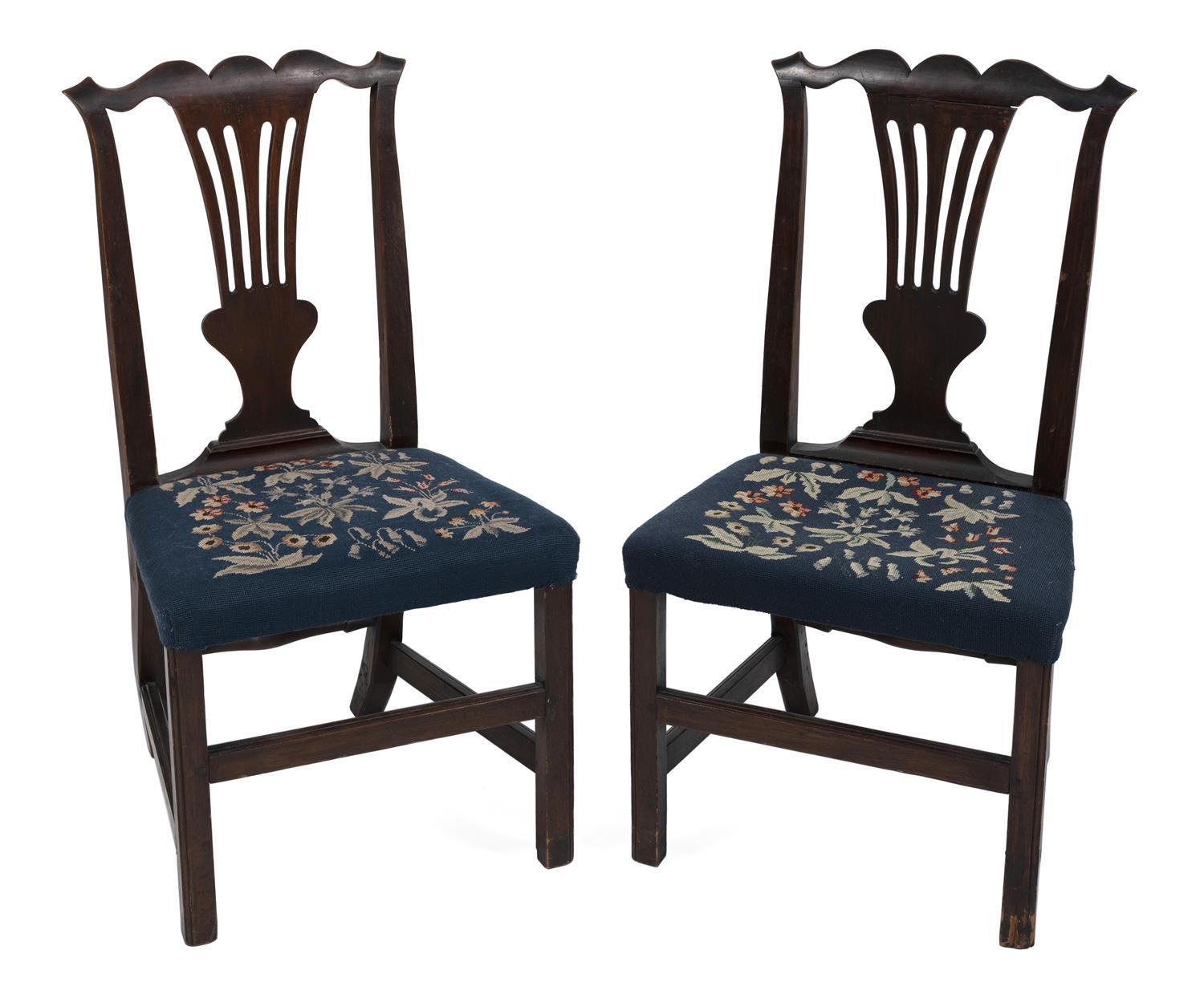 "PAIR OF HEPPLEWHITE SIDE CHAIRS Back heights 38"". Seat heights 18.5""."