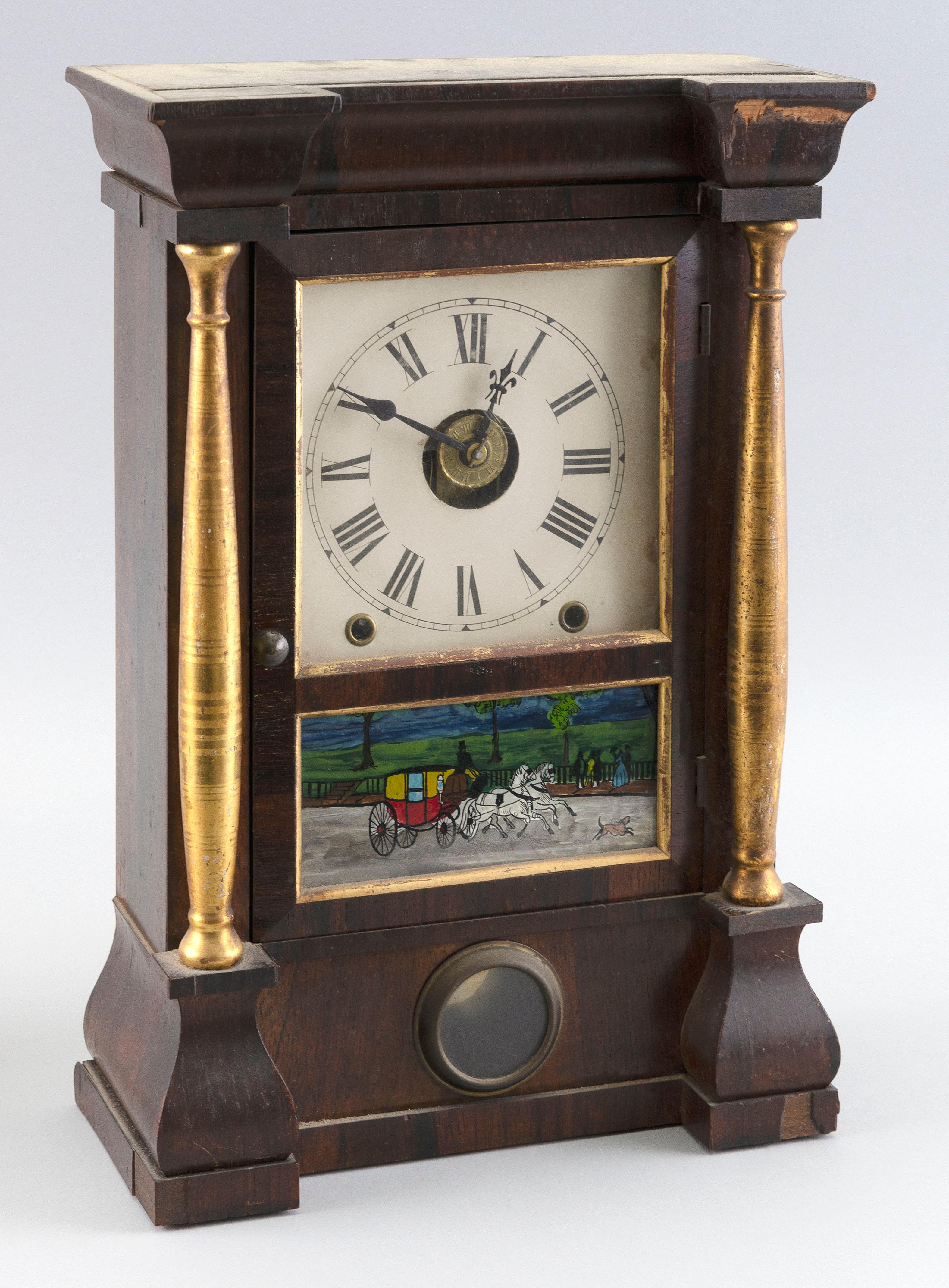 "SETH THOMAS HALF-SIZE PILLAR CLOCK 19th Century Height 16"". Width 10.5"". Depth 5""."