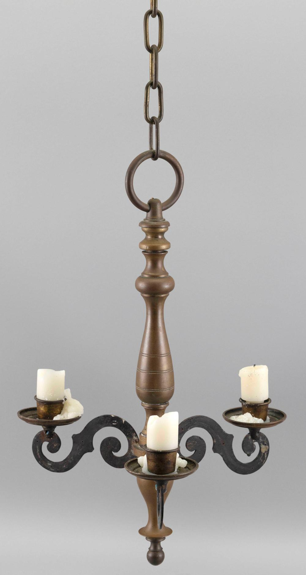 TWO HANGING CANDLE LIGHTING DEVICES 20th Century Tallest height 20.25