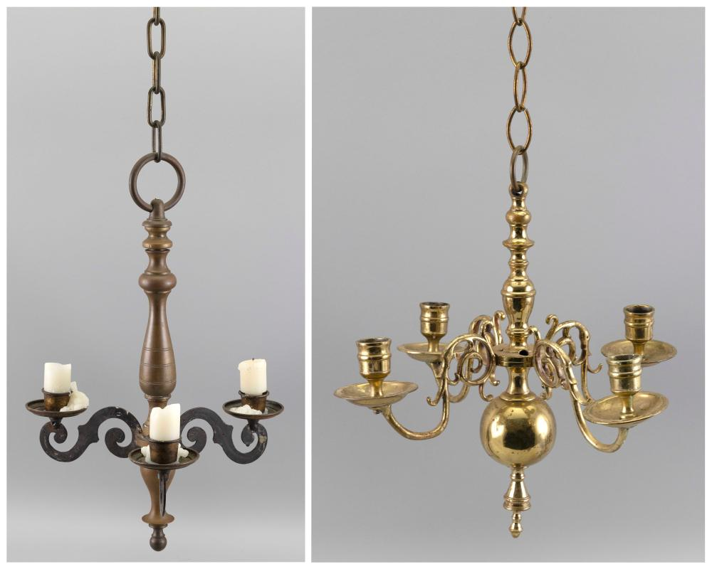 """TWO HANGING CANDLE LIGHTING DEVICES 20th Century Tallest height 20.25""""."""