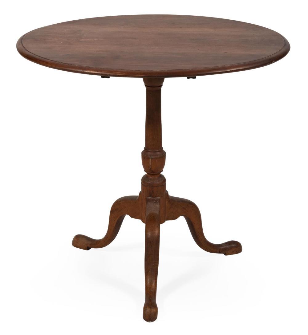 """QUEEN ANNE TILT-TOP TEA TABLE New England, Last Half of the 18th Century Height 30.5"""". Diameter of top 32""""."""