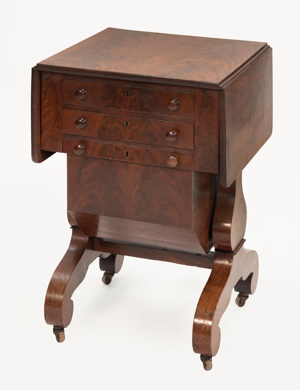 """FEDERAL DROP-LEAF SEWING TABLE Circa 1835 Height 28.75"""". Width 20"""" plus two 10"""" drop leaves. Depth 20.25""""."""