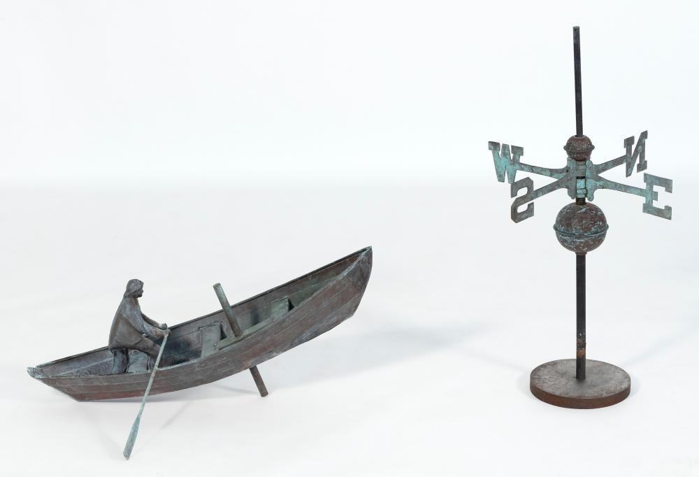 "JOHN GARRET THEW COPPER WEATHER VANE Norfolk, Connecticut, Late 20th Century Dory length 30"". Width between oar tips 30""."