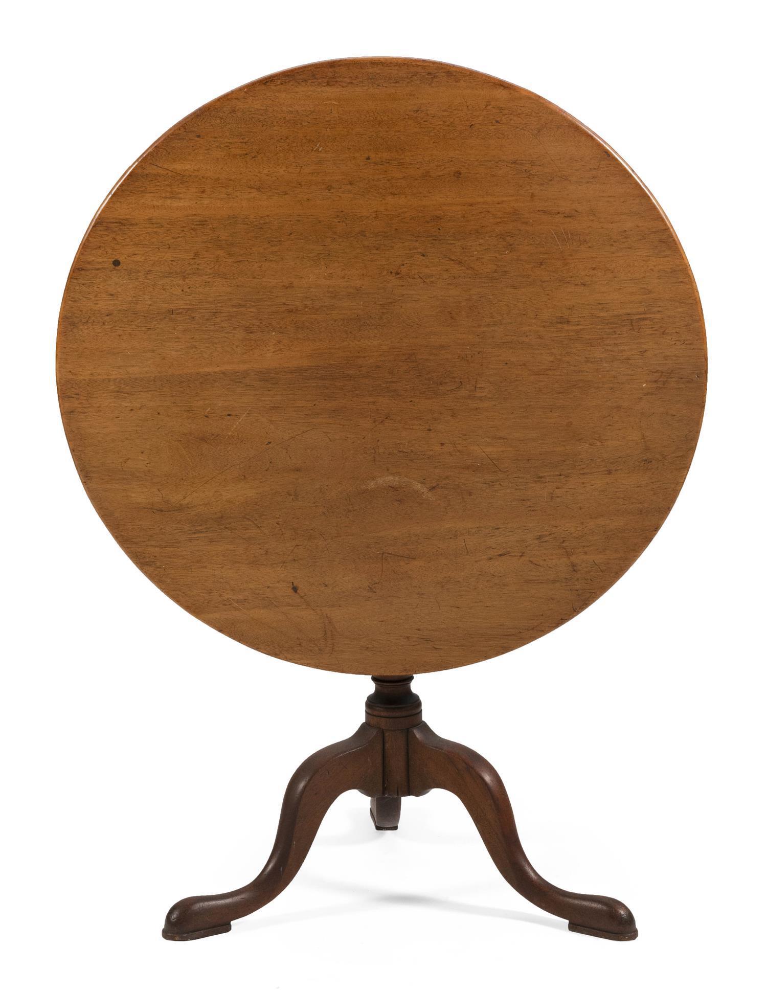 "QUEEN ANNE TILT-TOP TABLE Late 18th Century Height 28"". Diameter 33""."
