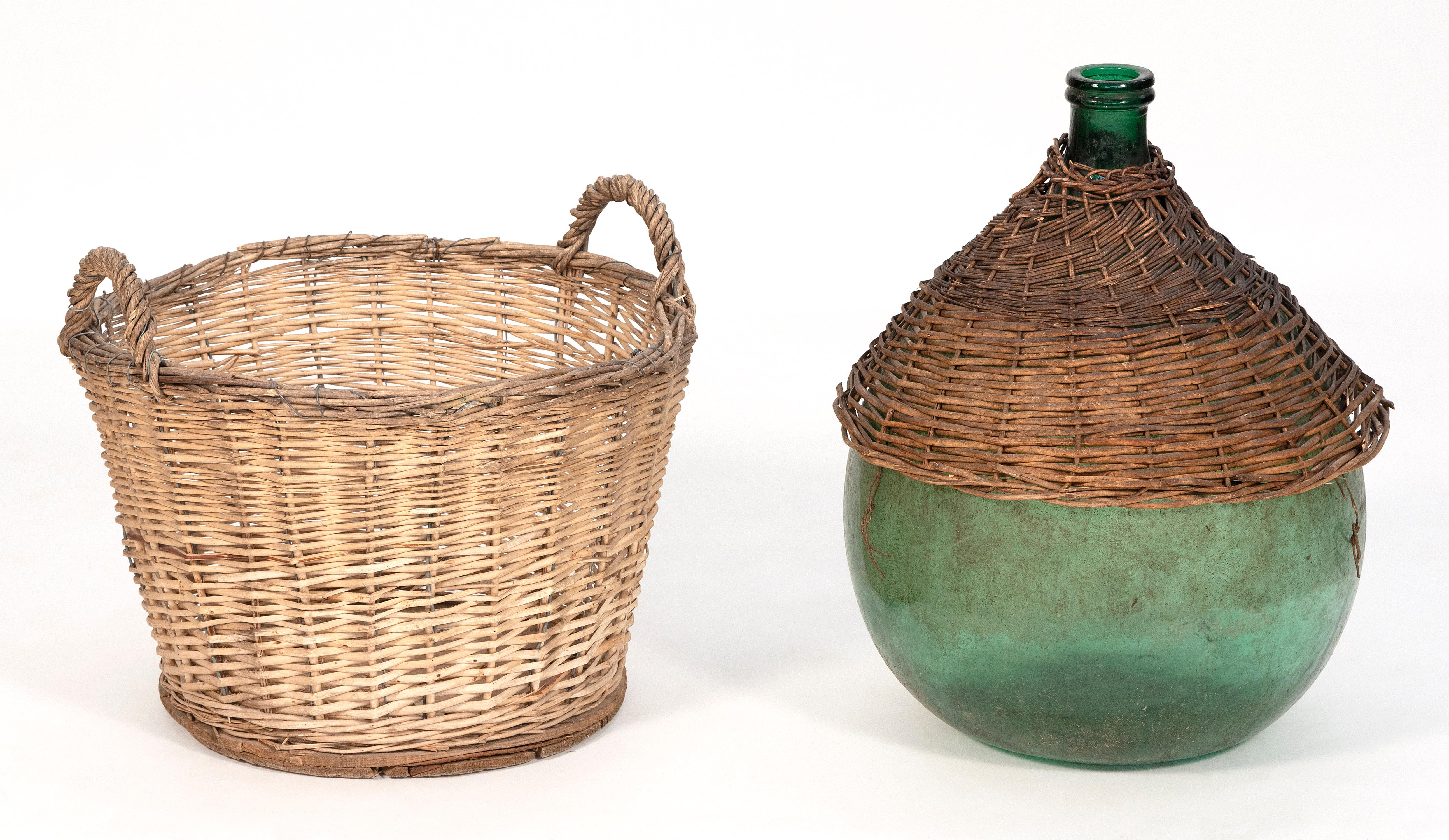 TWO WICKER ITEMS Early 20th Century