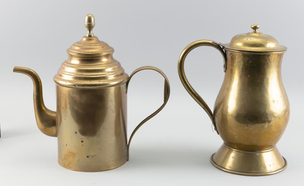 TWO CONTINENTAL BRASS POTS 19th Century Heights 12.25