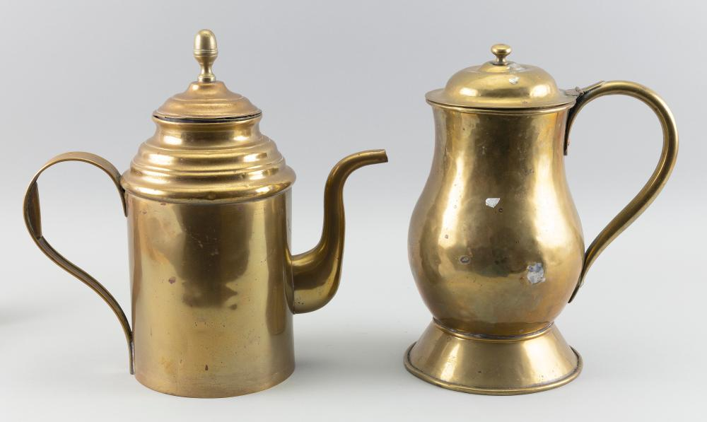 """TWO CONTINENTAL BRASS POTS 19th Century Heights 12.25"""" and 13""""."""