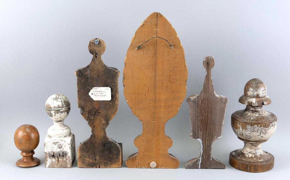 SIX CARVED WOODEN ARCHITECTURAL ELEMENTS 19th and 20th Century Heights from 5.25