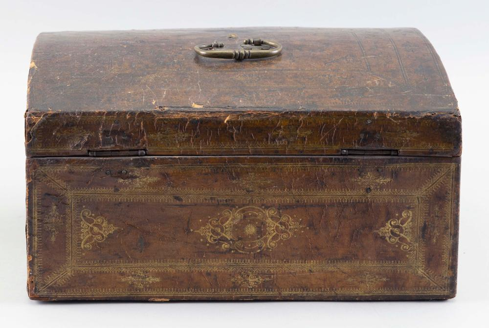 "LEATHER-COVERED DOCUMENT BOX 19th Century Height 6.5"". Width 12"". Depth 9""."