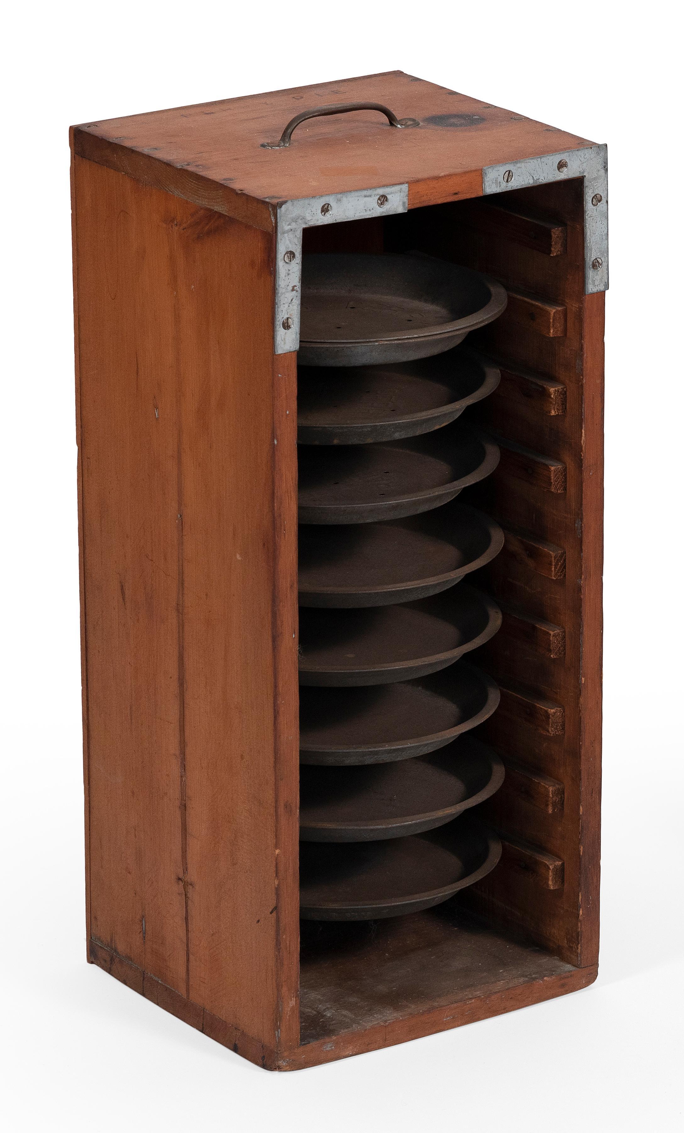 """PERRY'S PIES"" WOODEN PIE RACK 20th Century Tin diameters 9"". Case height 24"". Width 10.5"". Depth 10""."