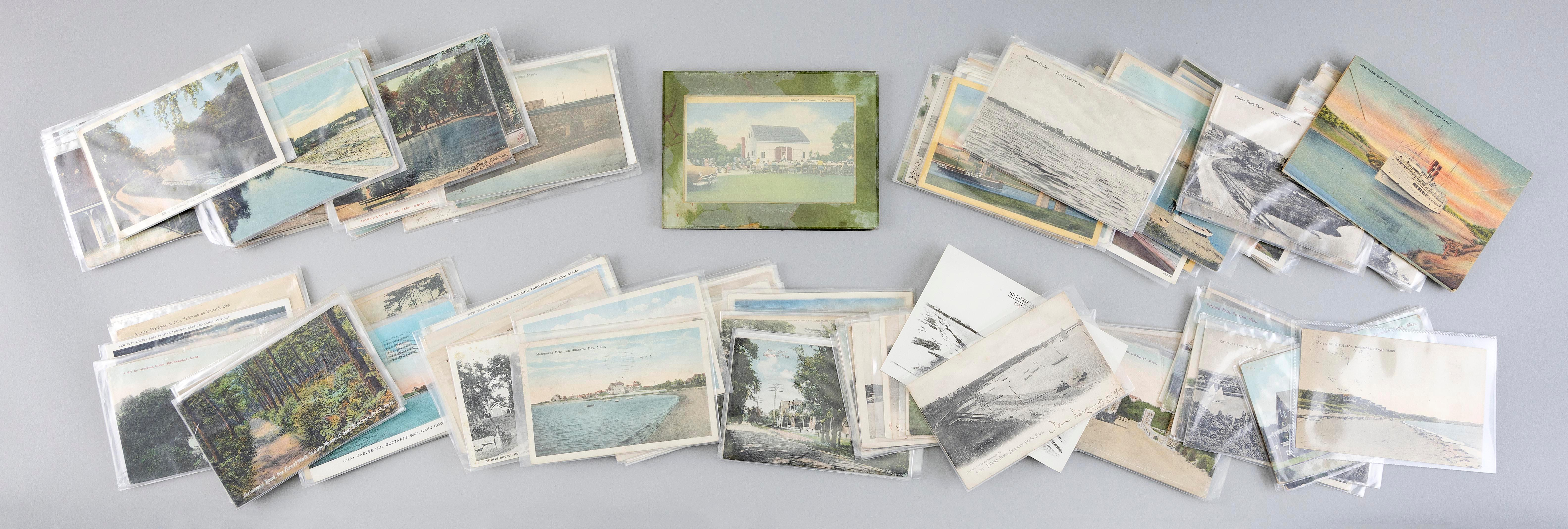 MASSACHUSETTS (CAPE COD CANAL, ADJACENT TOWNS AND LOWELL): 198 POSTCARDS Early 20th Century