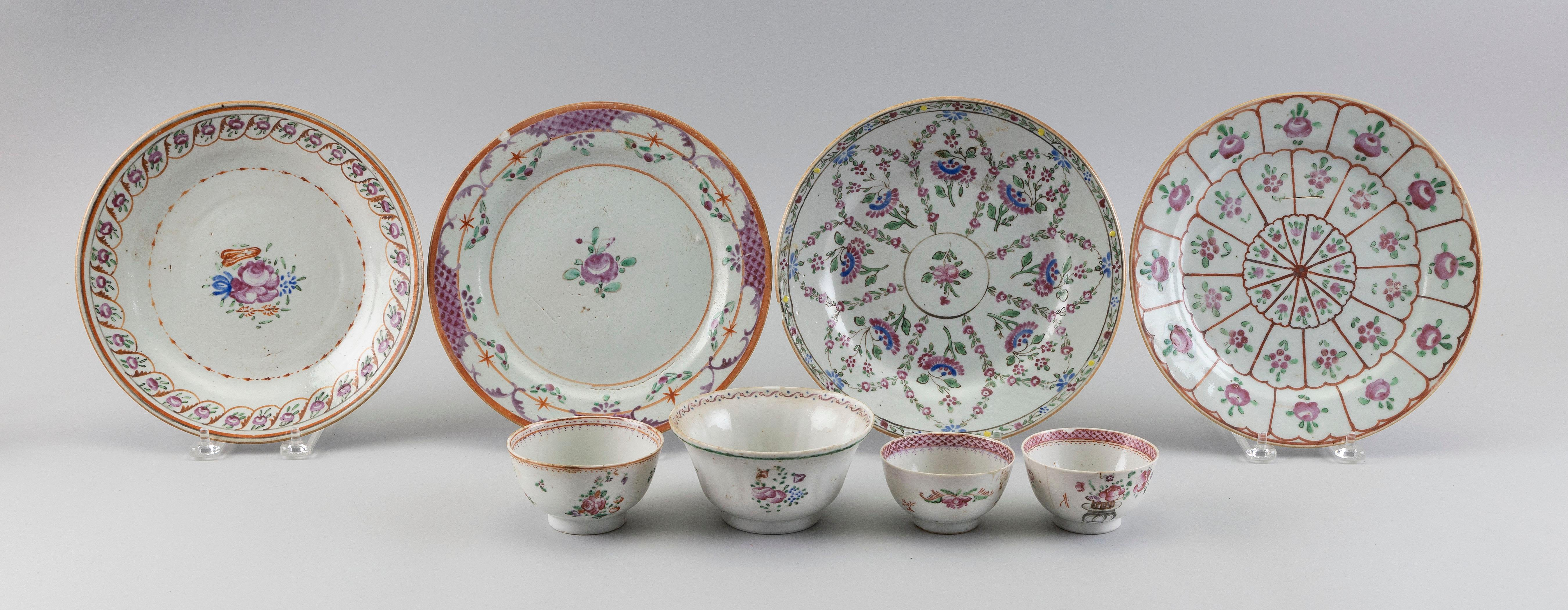 EIGHT PIECES OF CHINESE EXPORT FAMILLE ROSE PORCELAIN 19th Century