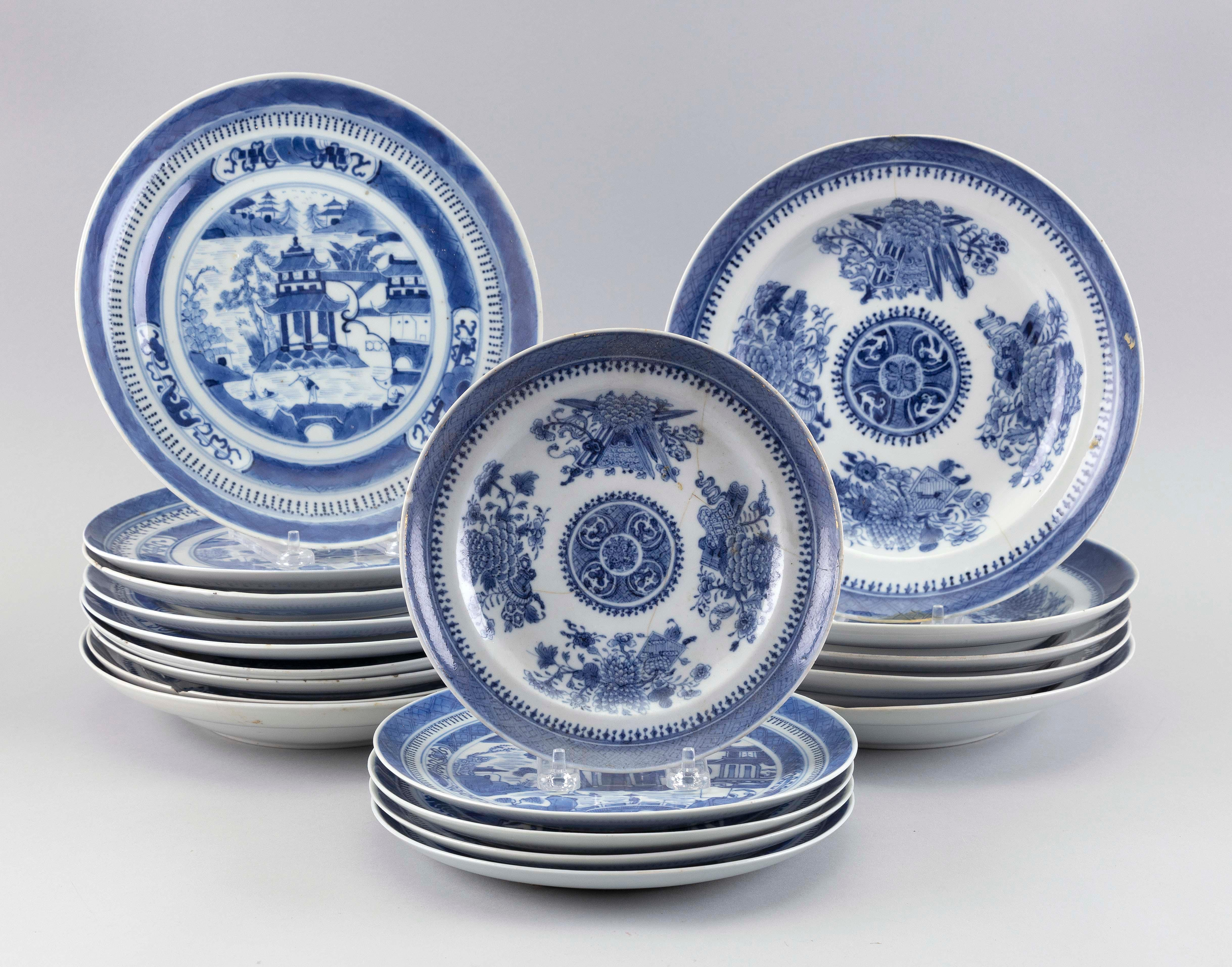NINETEEN CHINESE EXPORT BLUE AND WHITE PORCELAIN PLATES AND DISHES 19th Century