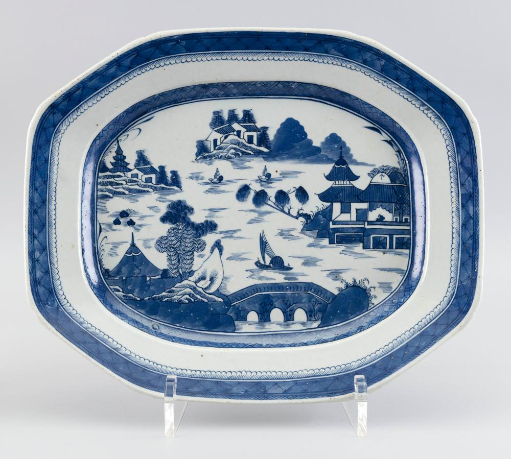 """CHINESE EXPORT CANTON PORCELAIN OCTAGONAL PLATTER 19th Century 15.25"""" x 18.25""""."""