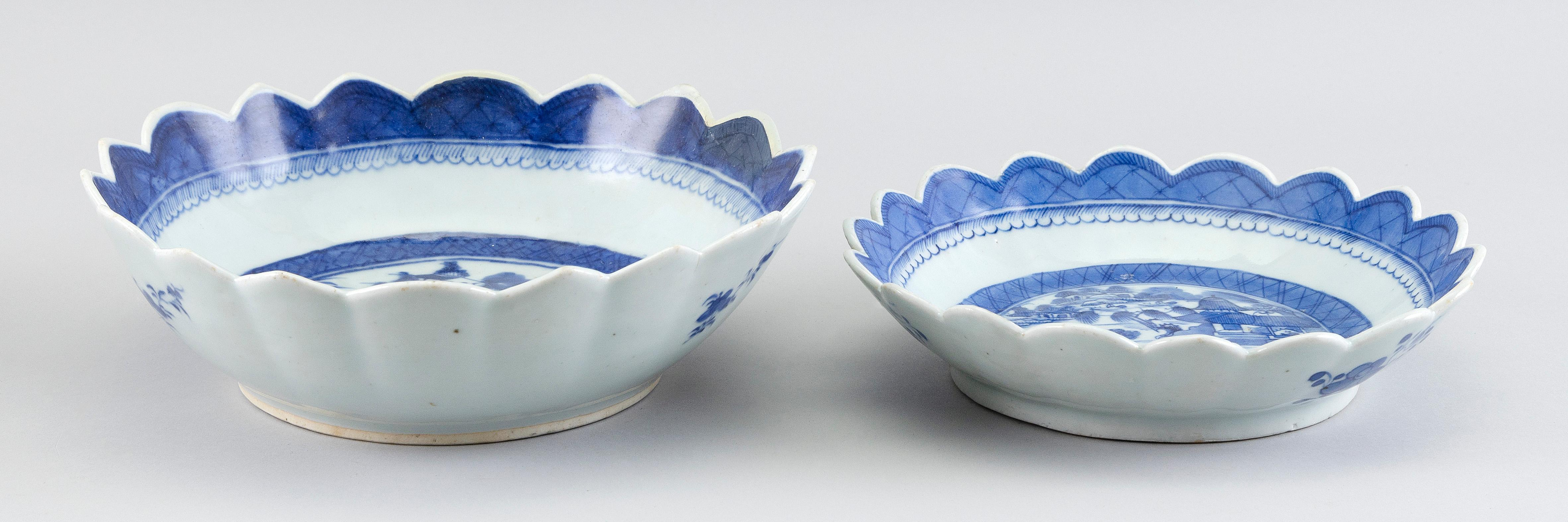 """TWO CHINESE EXPORT CANTON PORCELAIN BOWLS 19th Century Diameters 9"""" and 10""""."""
